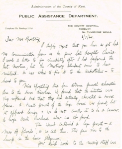 Letter from Public Assistance Dept, July 6th 1942