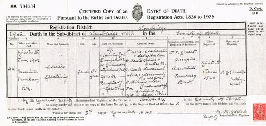 Death Certificate, Clarice Alberta Spratling